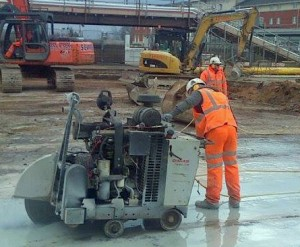 Diesel Floor Saw cutting floor slab